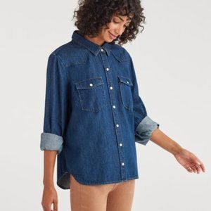 7 For All Mankind Denim Button Down Shacket Sz XS